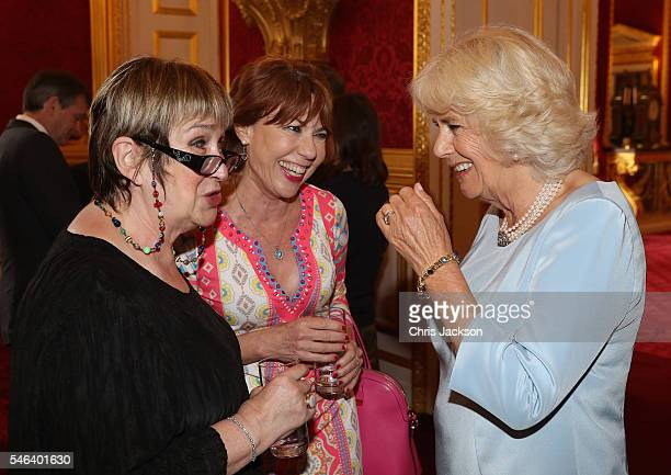 Camilla Duchess of Cornwall talks to Kathy Lette and Jenni Murray as she hosts the 30th Anniversary Garden Party for the National Osteoporosis...
