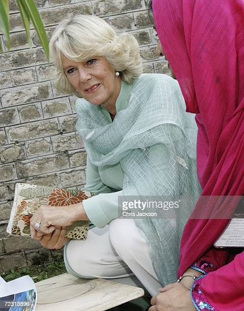 Camilla Duchess of Cornwall talks to pupils in the art class at Fatima Jinnah Womens University of the third day of the Royal Tour of Pakistan on...