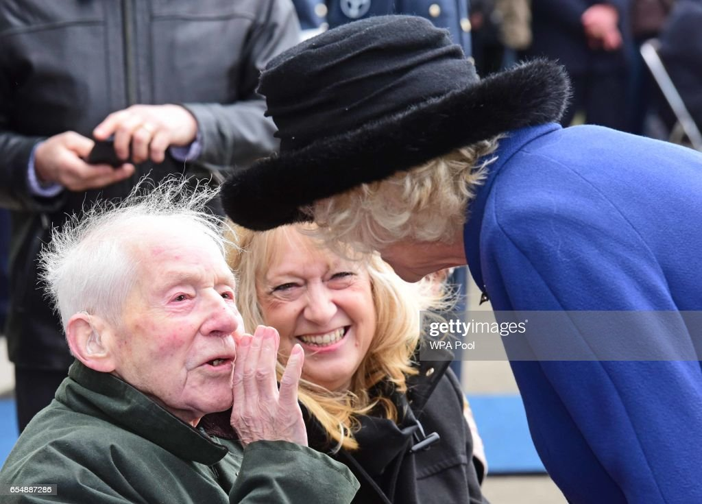 Camilla, Duchess of Cornwall talks to veteran Jack Swales, 95, during a visit during a visit to RAF Leeming for the 100 Squadron Centenary on March 18, 2017 in Gatenby, Northallerton, England.