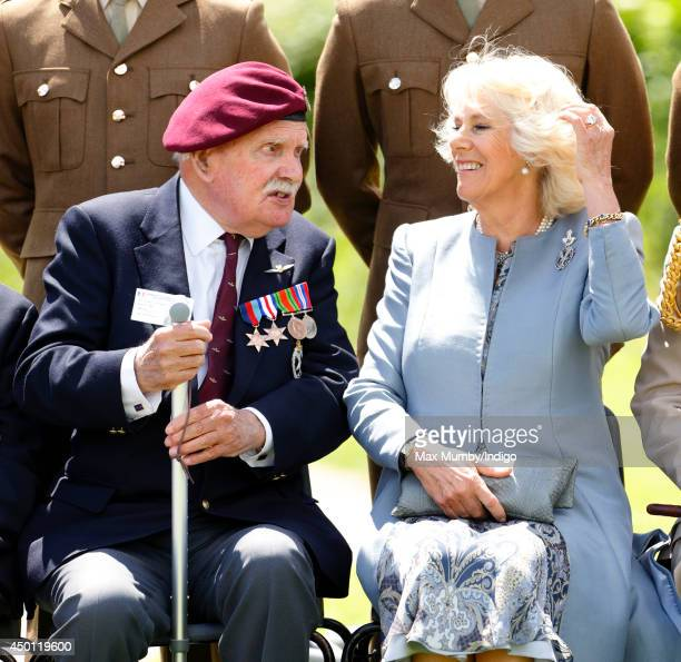 Camilla Duchess of Cornwall talks with a Glider Pilot Veteran as she attends a wreath laying ceremony at the Glider Pilot Memorial alongside Pegasus...