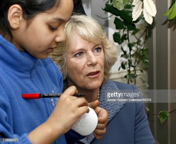 Camilla Duchess of Cornwall talks with children during a visit to the Jewish Museum in London to celebrate its 75th anniversary on February 13, 2007.