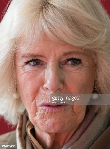 Camilla Duchess of Cornwall talks with pupils as she visits Marlborough St Mary's Church of England Primary School in Marlborough on January 30 2018...