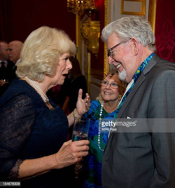 Camilla Duchess of Cornwall talks with Rolf Harris and his wife Alwen Hughes during a reception for prominent Papua New Guineans Australians and New...