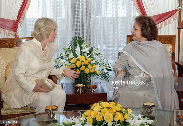 Camilla Duchess of Cornwall talks with Sebha Musharraf at the Presidency on day two of a week long royal tour of the country on October 30 2006 in...