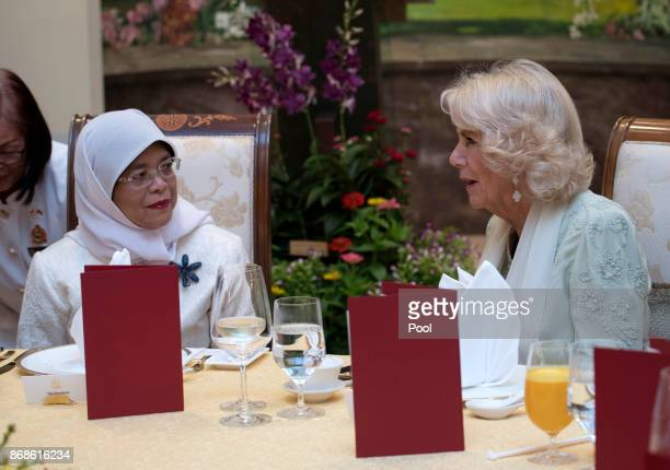 Camilla Duchess of Cornwall talks with Singapore President Halimah Yacob at a reception and dinner at the Istana Presidential Palace on October 31...
