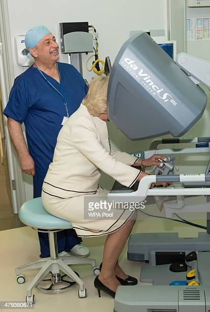 Camilla Duchess of Cornwall tests new medical equipment as they officially open the new Chelsea and Westminster Children's Hospital on March 18 2014...