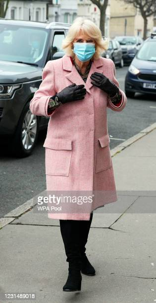 Camilla, Duchess of Cornwall The Duchess of Cornwall arrives for a visit to the Community Vaccination Centre at St Paul's Church on March 3, 2021 in...