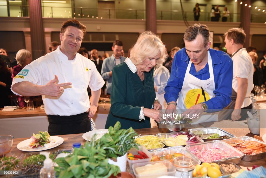 Camilla, Duchess of Cornwall Joins Jamie Oliver tor the CEO Cook Off