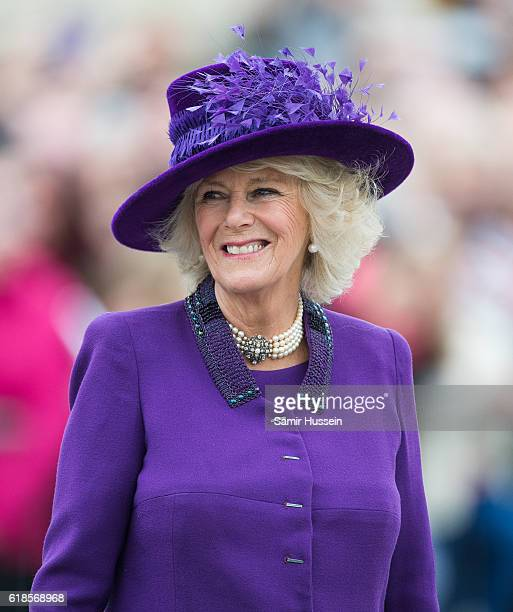 Camilla Duchess of Cornwall tours Queen Mother Square on October 27 2016 in Poundbury Dorset