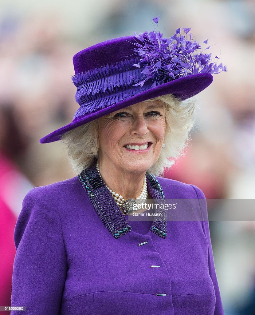 Camilla, Duchess of Cornwall tours Queen Mother Square on October 27, 2016 in Poundbury, Dorset.