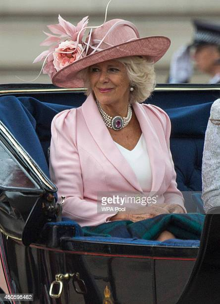 Camilla Duchess of Cornwall travels in a carriage during Trooping the Colour Queen Elizabeth II's Birthday Parade at The Royal Horseguards on June 14...