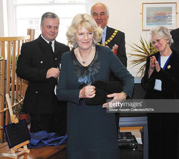 Camilla Duchess of Cornwall unveils a plaque at the newly built Younger Persons NeuroRehabilitation Unit at the Royal National Hospital for Rheumatic...