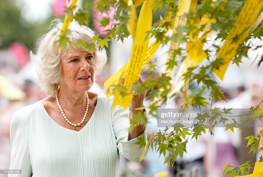 Camilla, Duchess of Cornwall views the Scotty's Little Soldiers garden, with messages written on ribbons from bereaved British Forces children, as she attends The Hampton Court Flower Show at Hampton Court Palace on July 1, 2015 in London, England.