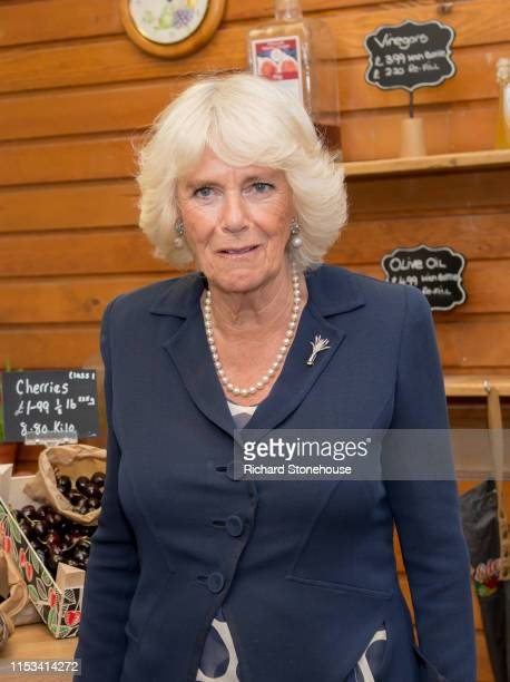 Camilla Duchess of Cornwall visits a fruit and veg stall at Carmarthen Market where she met various stallholders during a visit to Wales on July 3...