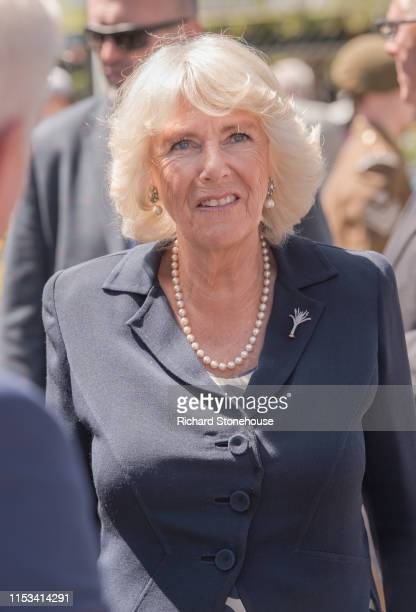 Camilla Duchess of Cornwall visits Carmarthen Market where she met various stallholders during a visit to Wales on July 3 2019 in Carmarthen Wales