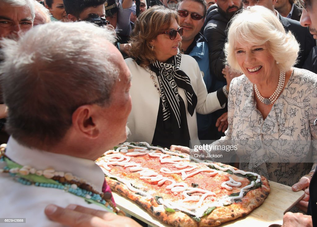 Camilla, Duchess of Cornwall visits fashion house E. Marinella, on the second day of her tour of Italy on April 1, 2017 in Naples, Italy. HRH will visit the workshop to observe the processes involved in making silk scarves and ties by hand and will officially inaugurate the Marinella's Centenary Museum.