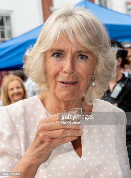 Camilla Duchess of Cornwall visits Honiton and attends the town's 'GatetoPlate' food market meeting residents and local producers on July 18 2018 in...