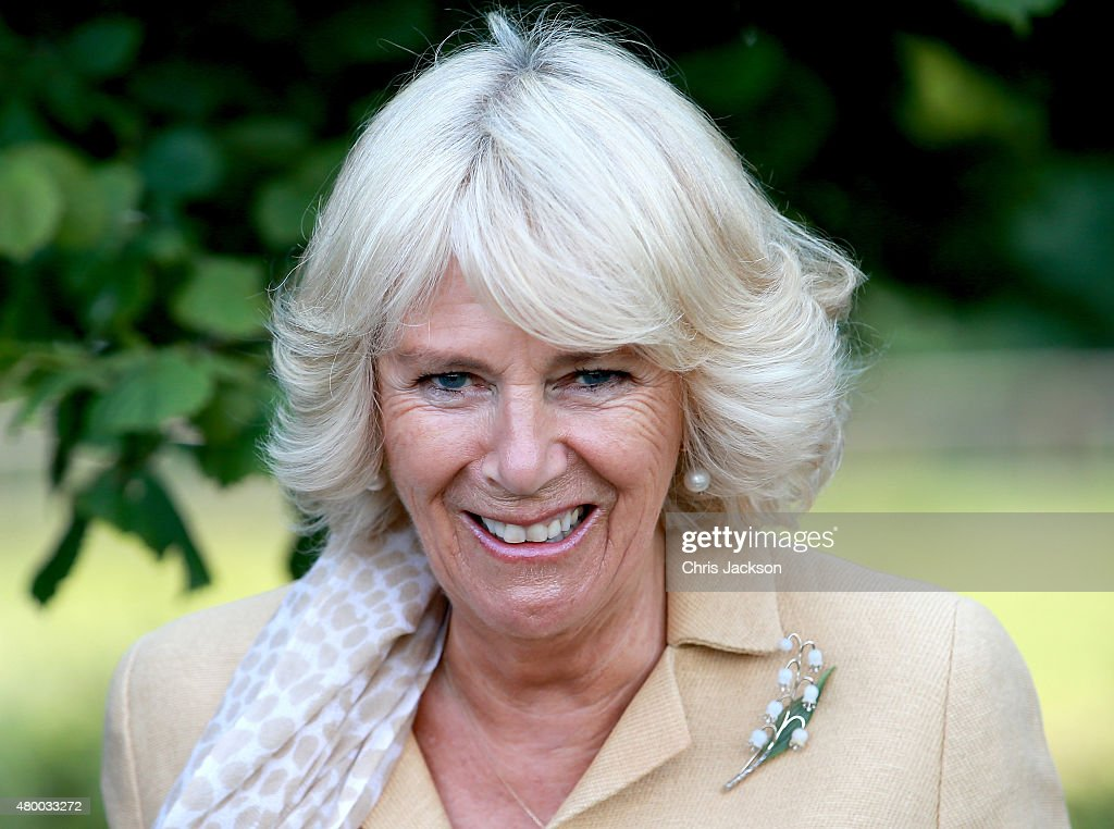 Camilla, Duchess of Cornwall visits Humble by Nature Farm on July 9 2015 in Monmouth, Wales. Humble by Nature is a working farm which was saved from closure by Kate Humble and her husband Ludo Graham in 2010. It includes a rural skills centre as well as a farm shop, cafe and adventure playground.