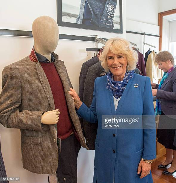 Camilla Duchess of Cornwall visits Magee of Donegal's Tweed Factory on May 25 2016 in Letterkenny Ireland The royal couple are on a one day visit to...