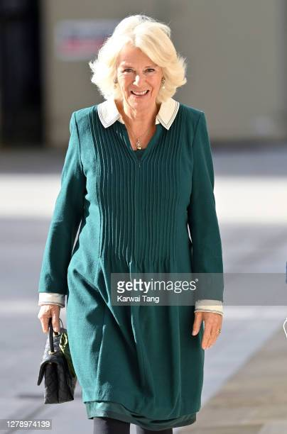 Camilla, Duchess of Cornwall visits Maggie's Barts at St Bartholomew's Hospital on October 07, 2020 in London, England.