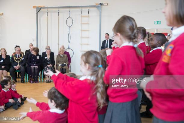Camilla Duchess of Cornwall visits Marlborough St Mary's Church of England Primary School in Marlborough on January 30 2018 in Wiltshire United...