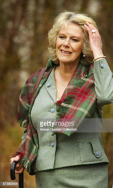 Camilla Duchess of Cornwall visits Muir of Dinnet National Nature Reserve on April 20 2006 on Royal Deeside in Scotland The couple broke off from...