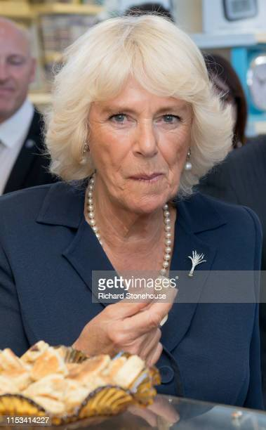 Camilla Duchess of Cornwall visits Richardson's Bakery stall at Carmarthen Market where she met various stallholders during a visit to Wales on July...