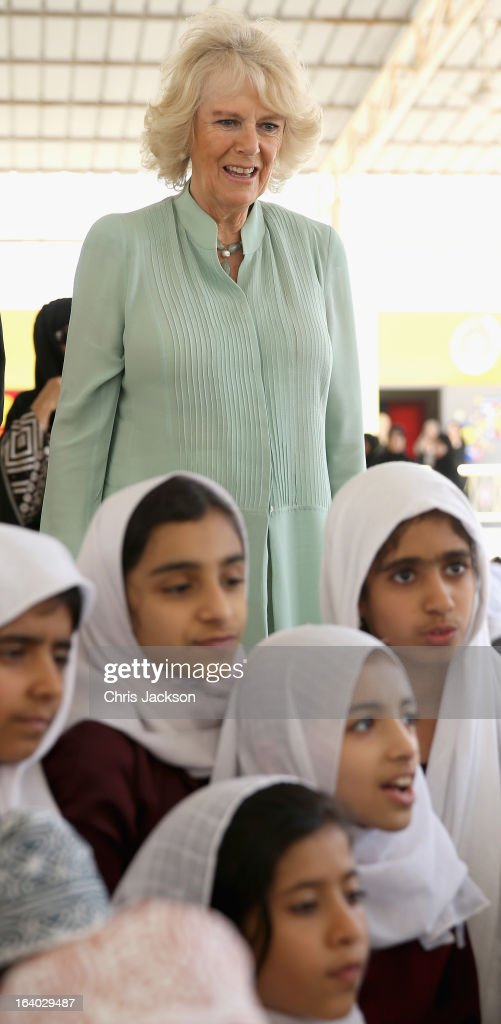 Camilla, Duchess of Cornwall visits Shams Al Ma'aref School on the ninth day of a tour of the Middle East on March 19, 2013 in Muscat, Oman. The Royal couple are on the fourth and final leg of a tour of the Middle East taking in Jordan, Qatar, Saudia Arabia and Oman.