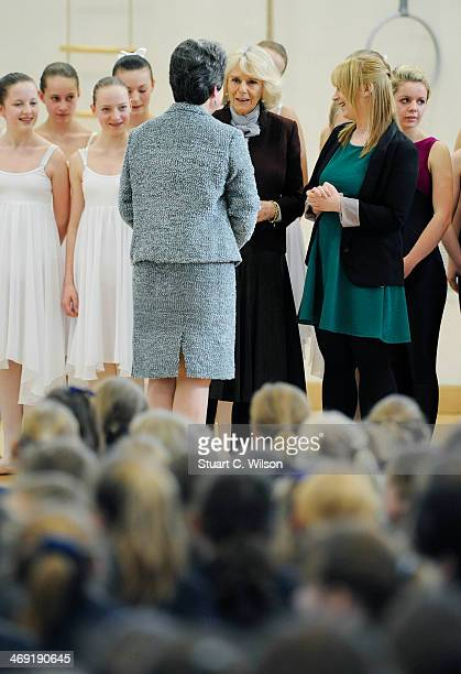 Camilla Duchess Of Cornwall visits St Catherine's School in Bramley Surrey on February 13 2014 in Guildford England