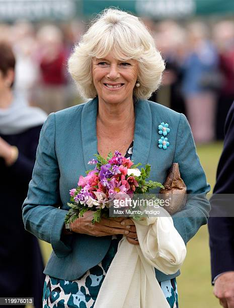 Camilla Duchess of Cornwall visits the 130th Sandringham Flower Show on July 27 2011 in Huntingdon England