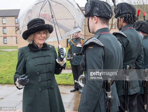 Camilla Duchess of Cornwall visits the 4th Battalion The Rifles at Normandy Barracks on February 27 2017 in Aldershot England