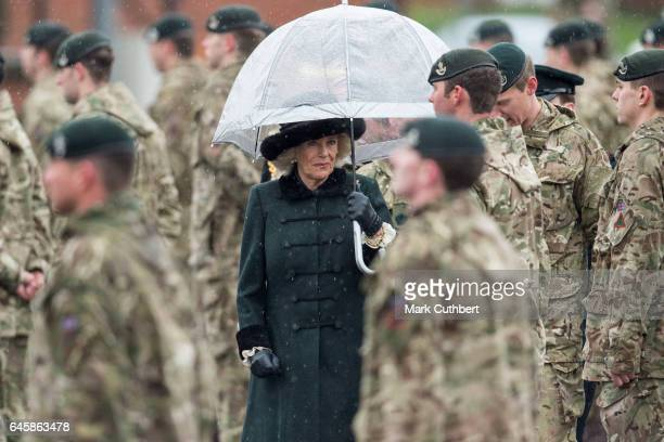 Camilla, Duchess of Cornwall visits the 4th Battalion The Rifles on February 27, 2017 in Aldershot, England.