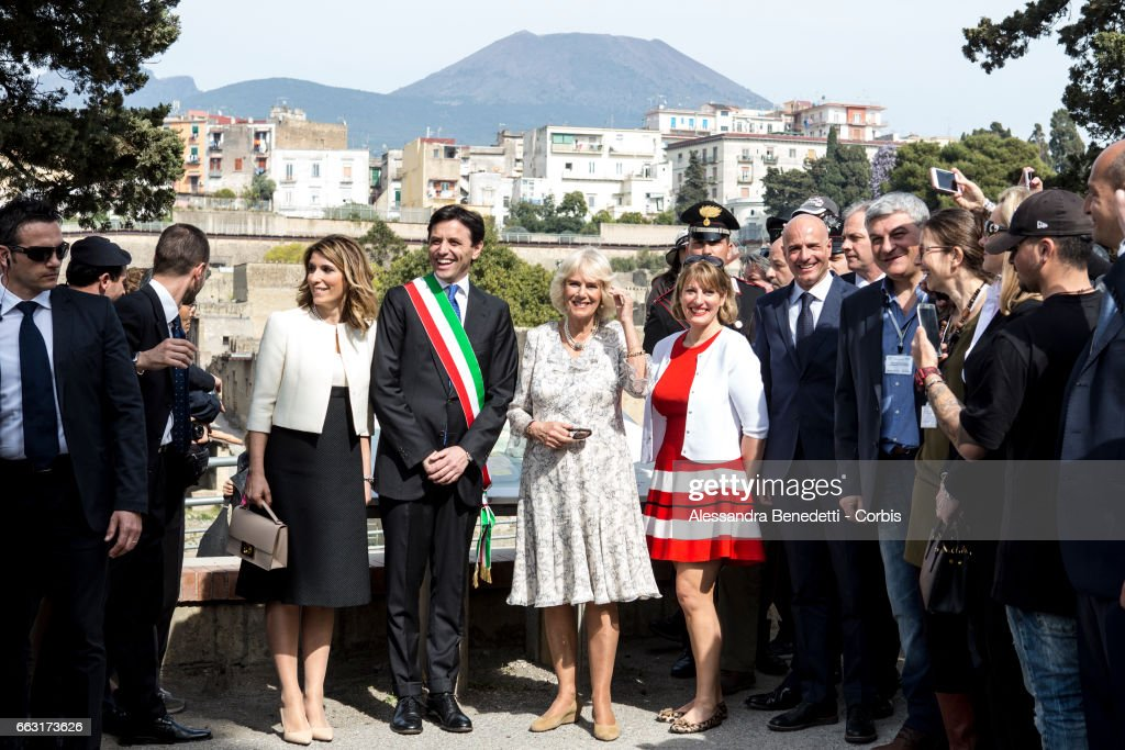 Camilla, Duchess of Cornwall visits the ancient Archaeological site of Herculaneum, in the city of Ercolano near Naples, on April 1, 2017 in Naples, Italy. The royal couple is in Italy for a five-day visit during which they will Meet Pope Francis at the Vatican, and Prince Charles will visit Amatrice, the town devastated by a 6.0 magnitude earthquake and where 297 people died last summer.