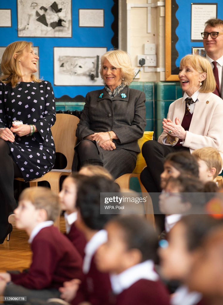 GBR: The Duchess Of Cornwall Visits Avondale Park School To Celebrate World Book Day