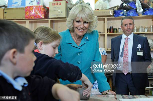 Camilla Duchess of Cornwall visits the Claddagh National School where she met with students before taking part in the SUAS literacy support programme...