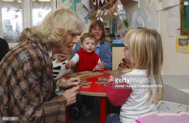 Camilla Duchess of Cornwall visits the creche at the Thomas Hardye School on December 12 2008 in Dorchester England