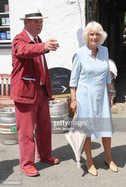 Camilla, Duchess of Cornwall visits the Duke of York Inn to join author Sir Michael Morpurgo at a lunch club for local residents, the first since the...