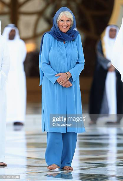 Camilla Duchess of Cornwall visits the Grand Mosque on the first day of a Royal tour of the United Arab Emirates on November 6 2016 in in Abu Dhabi...