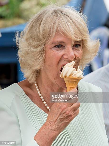 Camilla Duchess of Cornwall visits the Hampton Court Palace Flower Show at Hampton Court Palace on July 1 2015 in London England