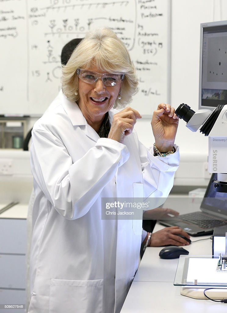 Camilla, Duchess Of Cornwall visits the Hybrid Bio Devices Lab at the University Of Southampton where she was also awarded an Honourary Doctorate on February 11, 2016 in Southampton, England.
