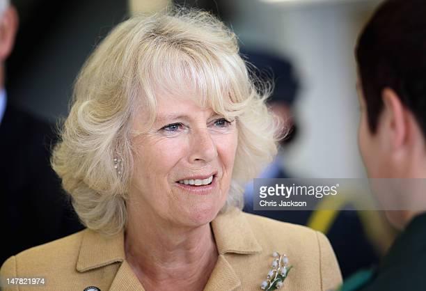 Camilla, Duchess of Cornwall visits the new Cornwall Air Ambulance facilities on July 4, 2012 in Newquay, England. Prince Charles, Prince of Wales...