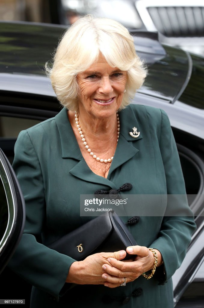Camilla, Duchess of Cornwall visits the New Normandy Barracks on July 12, 2018 in Aldershot, England.