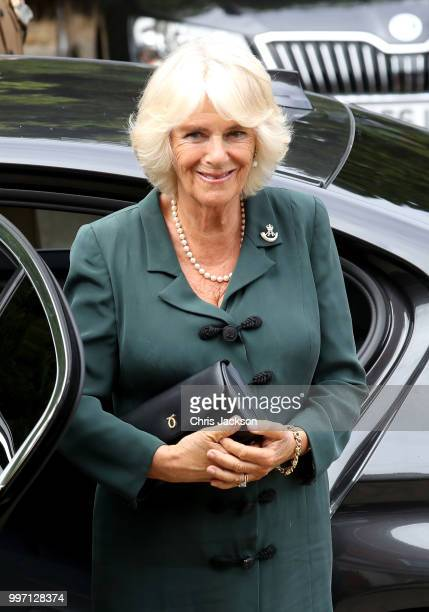 Camilla Duchess of Cornwall visits the New Normandy Barracks on July 12 2018 in Aldershot England