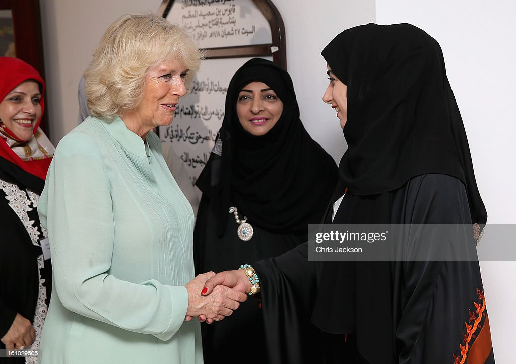 Camilla, Duchess of Cornwall visits the Omani Women's Association in Muscat on the ninth day of a tour of the Middle East on March 19, 2013 in Muscat, Oman. The Royal couple are on the fourth and final leg of a tour of the Middle East taking in Jordan, Qatar, Saudia Arabia and Oman.
