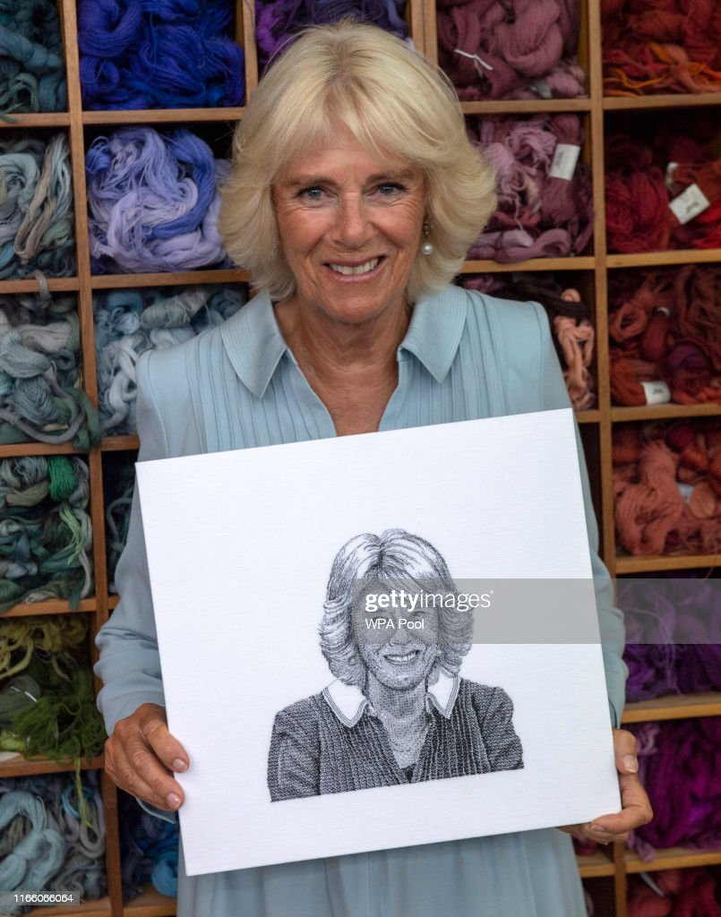 The Duchess Of Cornwall Visits The Royal School Of Needlework : News Photo