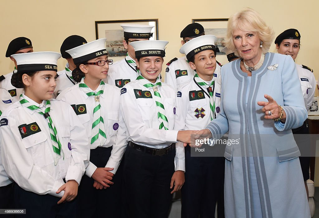 Camilla, Duchess of Cornwall visits the UK Ambassador's Residence to a meeting with sailors, veterans and scouts from HMS Bulwark, in the outskirts of Valletta on November 27, 2015 inValletta , Malta. Queen Elizabeth II, The Duke of Edinburgh, Prince Charles, Prince of Wales and Camilla, Duchess of Cornwall arrived yesterday to attend the Commonwealth Heads of State Summit.