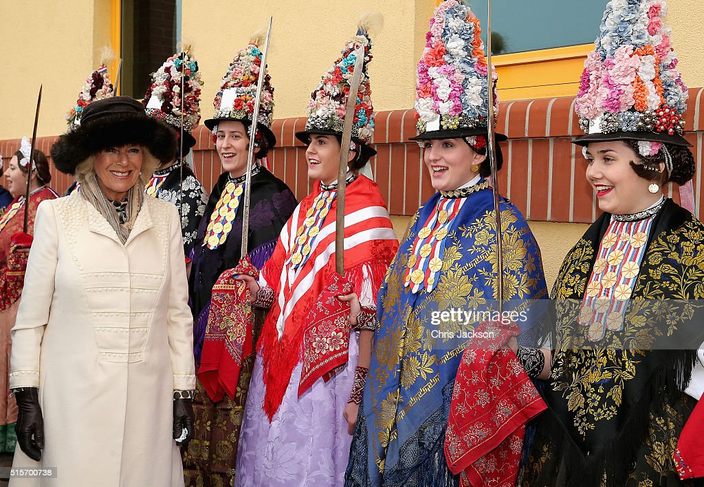 Camilla, Duchess of Cornwall walks past women in traditional Croatian drerss as she visits Djakovo Stud Farm on March 15, 2016 in Osijek, Croatia. The Prince and the Duchess are on the second day of a two day visit to Croatia.