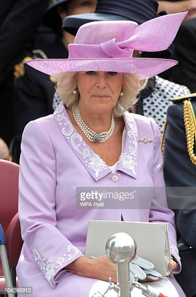 Camilla Duchess of Cornwall watches the parade during the National Commemorative Service for the 70th Anniversary of the Battle of Britain at...