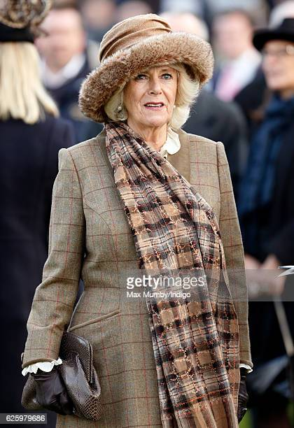 Camilla Duchess of Cornwall watches the racing as she attends the 60th Hennessy Gold Cup at Newbury Racecourse on November 26 2016 in Newbury England