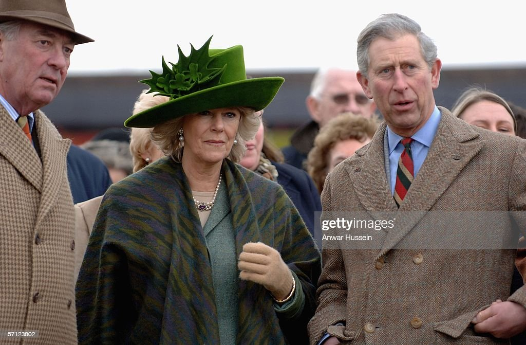 Camilla, Duchess of Cornwall, wearing a St. Patrick's Day themed hat designed by Patrick Treacy, and Prince Charles, Prince of Wales attend the Totesport Cheltenham Gold Cup, one of the biggest races of the National Hunt season taking place on the last day of the National Hunt Festival at Cheltenham Racecourse on March 17, 2006 in Cheltenham, England.